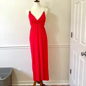 PINK ROSE Red Maxi Dress with White Straps